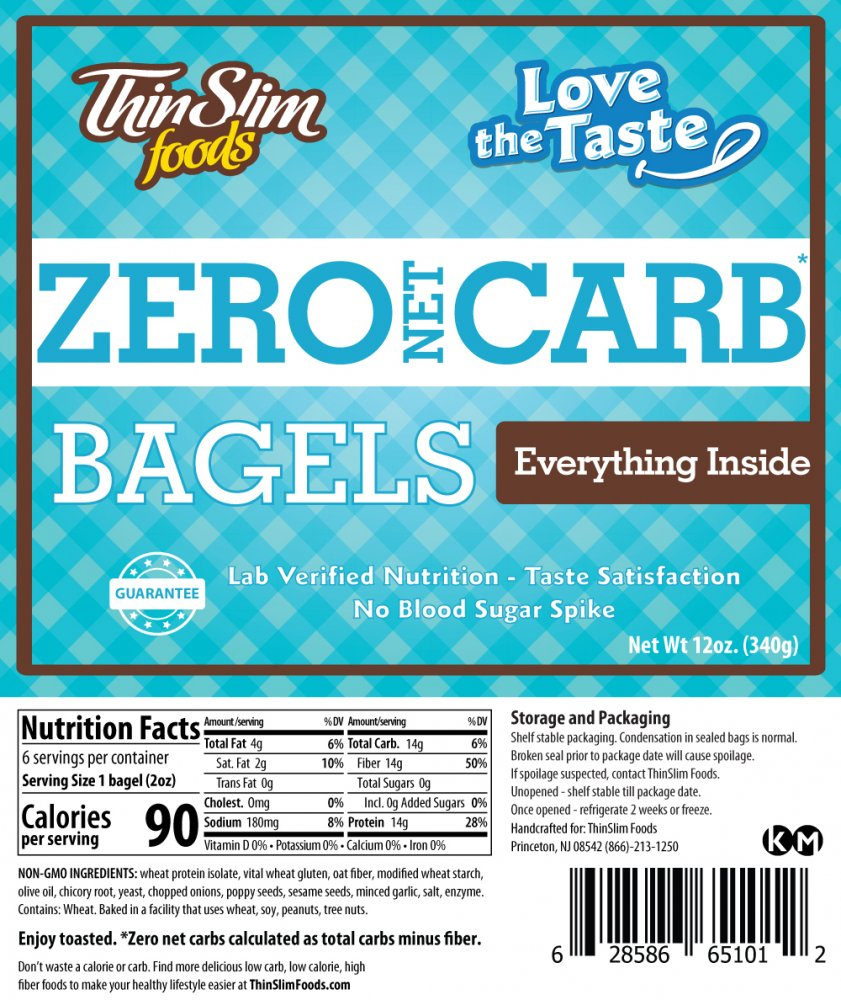 ThinSlim Foods Love-the-Taste Bagels Everything Inside 6 pack - Click Image to Close
