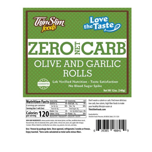ThinSlim Foods Rustic Tuscan Olive and Garlic Rolls