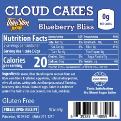 ThinSlim Foods Cloud Cakes Blueberry Bliss, 2pack