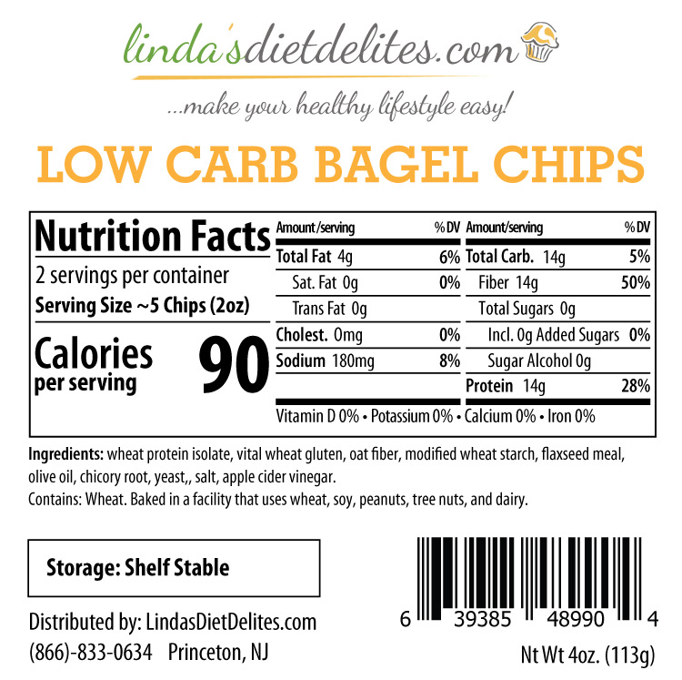Lindas Diet Delites Low Carb Bagel Chips Plain