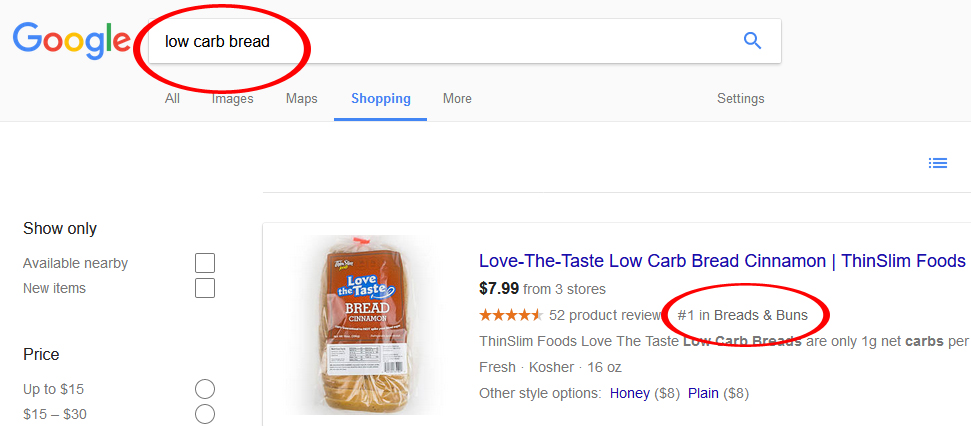 Low Carb Bread Google Rank