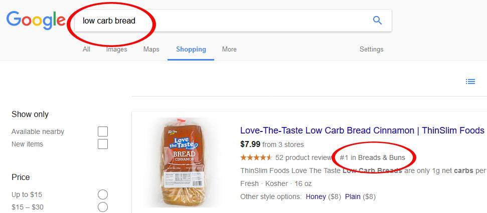 Low Carb Bread Google Rank