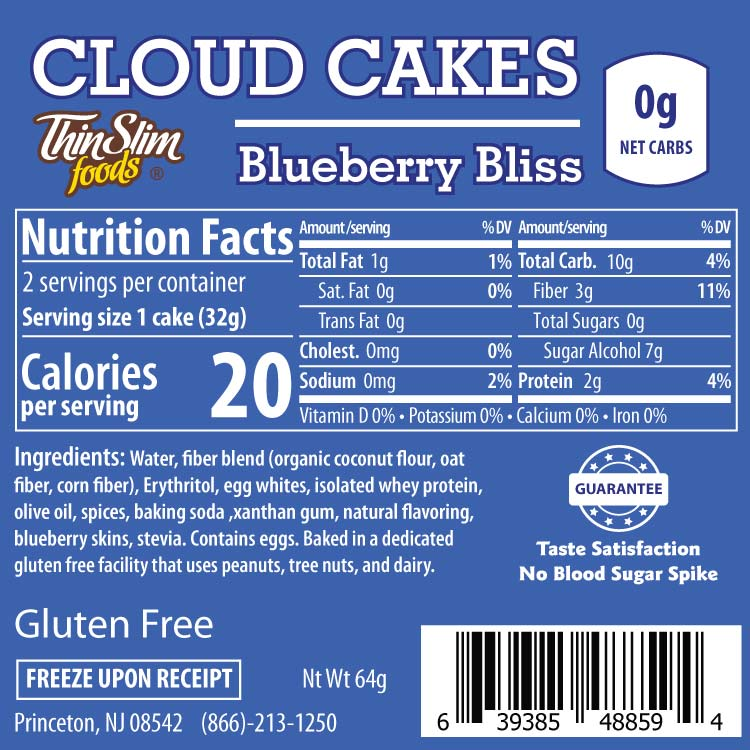 ThinSlim Foods Cloud Cakes Blueberry Bliss, 2pack - Click Image to Close