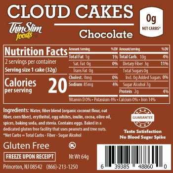 ThinSlim Foods Cloud Cakes Chocolate, 2pack - Click Image to Close