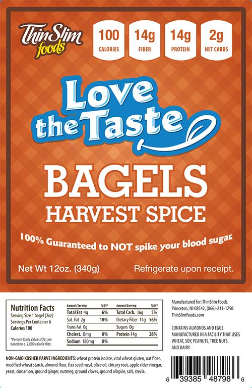 ThinSlim Foods Love-the-Taste Bagels Harvest Spice 6 pack