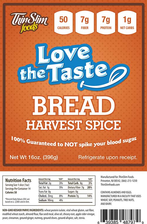 ThinSlim Foods Love-the-Taste Bread Harvest Spice